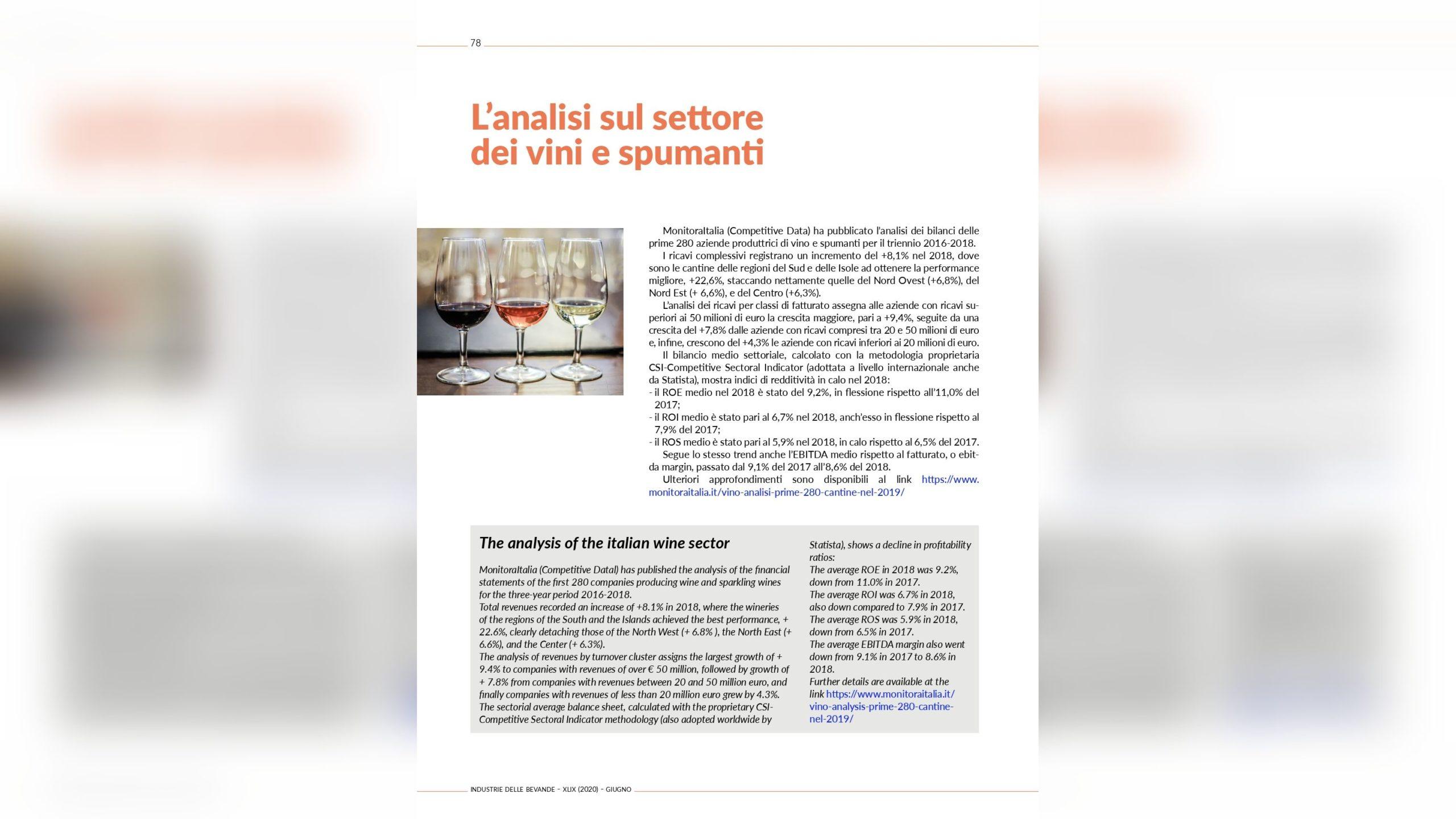 L'analisi del settore dei vini di Competitive Data sulla rivista Industrie delle Bevande